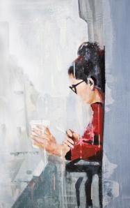 Café y cigarro, óleo, 70 x 45 cms