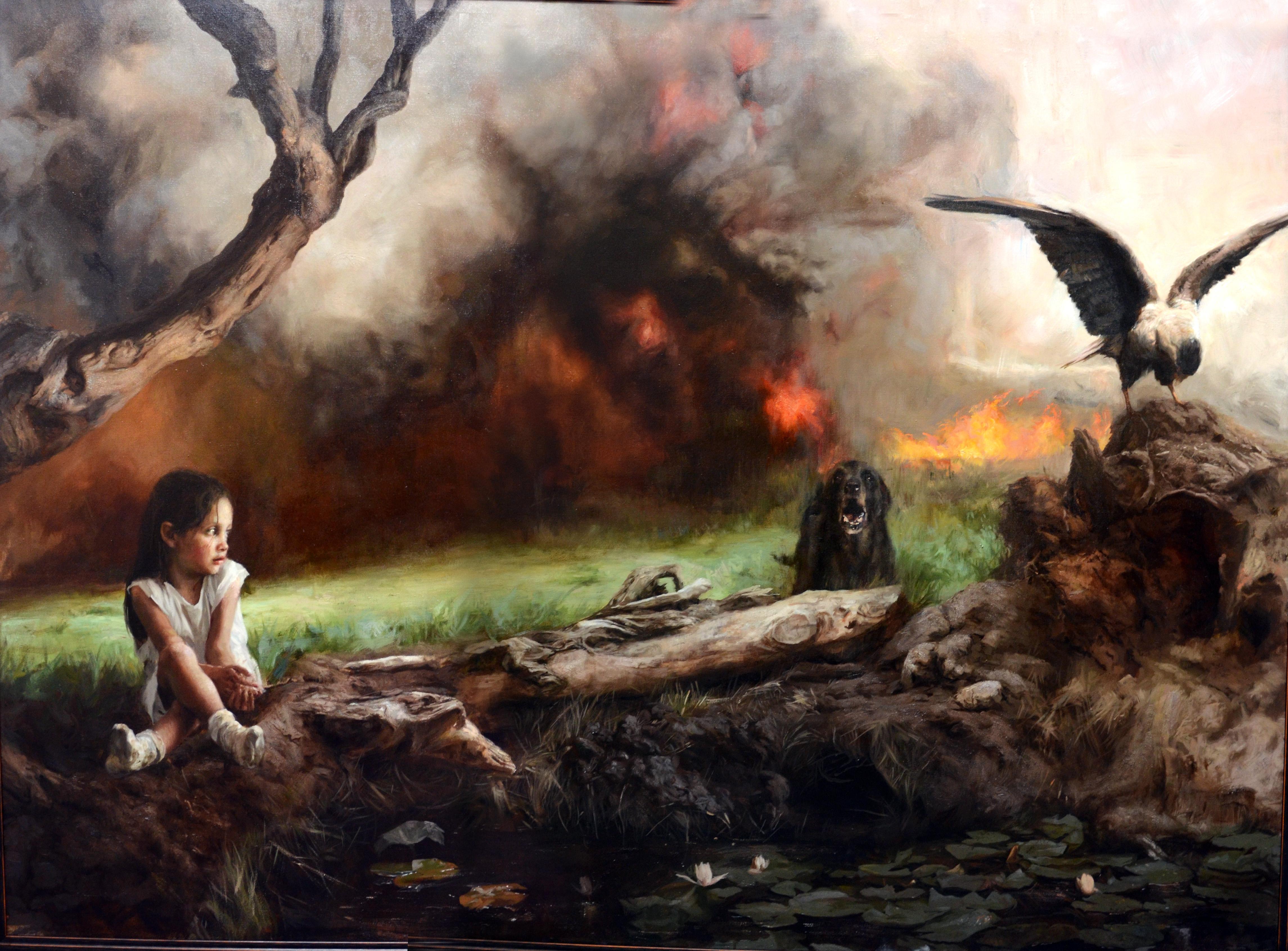 Incendio II, Óleo sobre tela