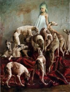 Laura y los perros, Óleo sobre tela, 200 x 150 cms, 2012