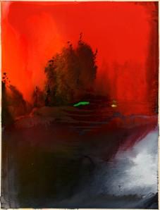 Árbol en rojo, 160 x 120, óleo sobre algodón