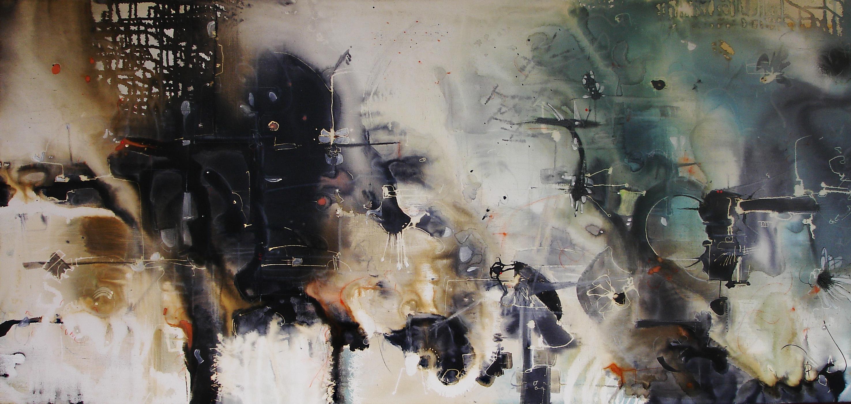 óleo,tiza y acuarela sobre tela 80 x 170 cm
