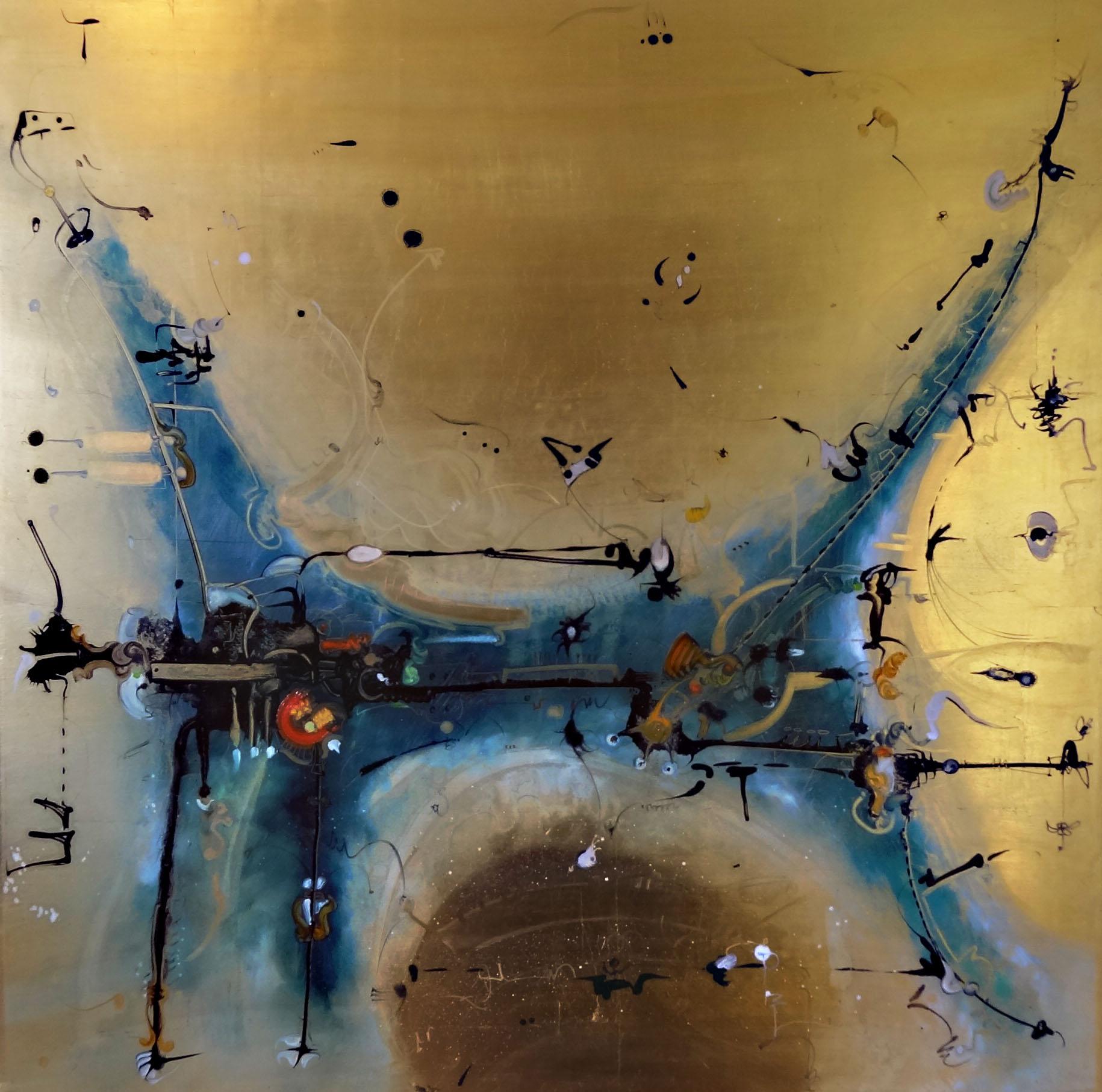 óleo sobre láminas de oro 80 x 80 cm