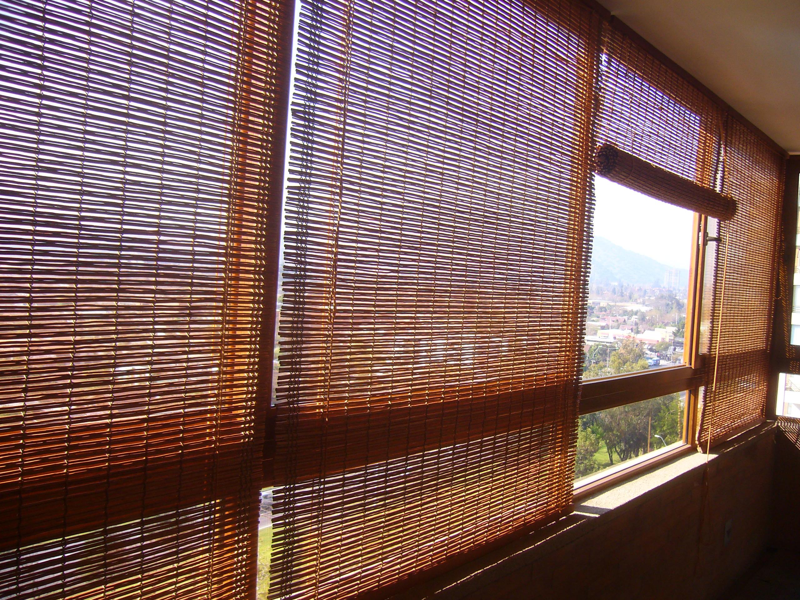 cortina de mimbre doble con hilo delgado