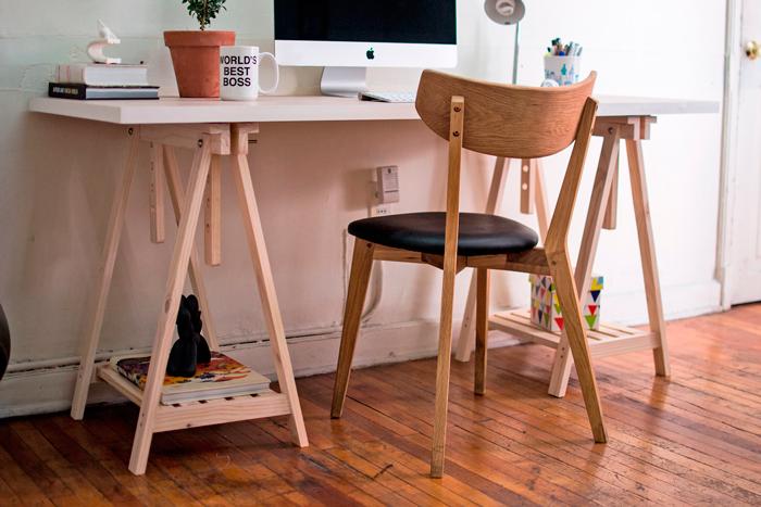 Pin escritorios y caballetes regulable en altura mesa escritorio con on pinterest - Mesa con caballetes ...
