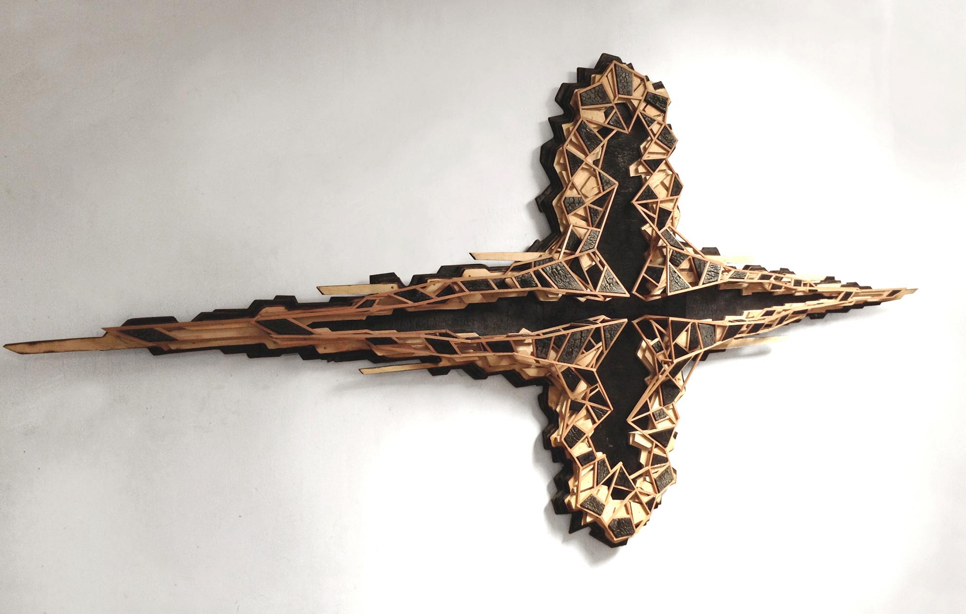 COMBUSTIÓN EXPANSIVA. 2013. Madera quemada, madera de roble y terciado. 275 x 130 x 15 cm.