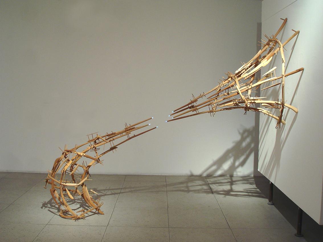 CONTRA FIBRA. 2010. Luces LED, fibra óptica, madera de roble, raulí, coihue, castaño, ciprés, laurel e iróco. 250 x 200 x 105 cm.
