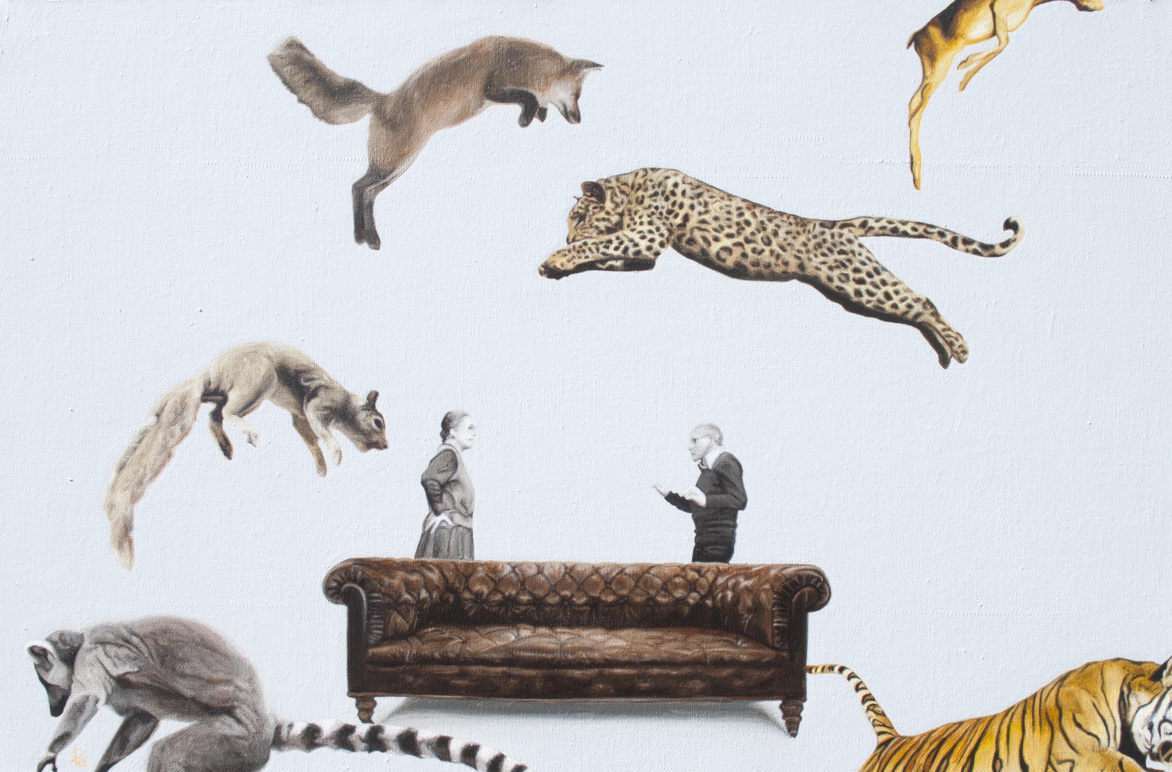 Detrás de ellos, óleo sobre tela, 70 x 50 cms, 2013