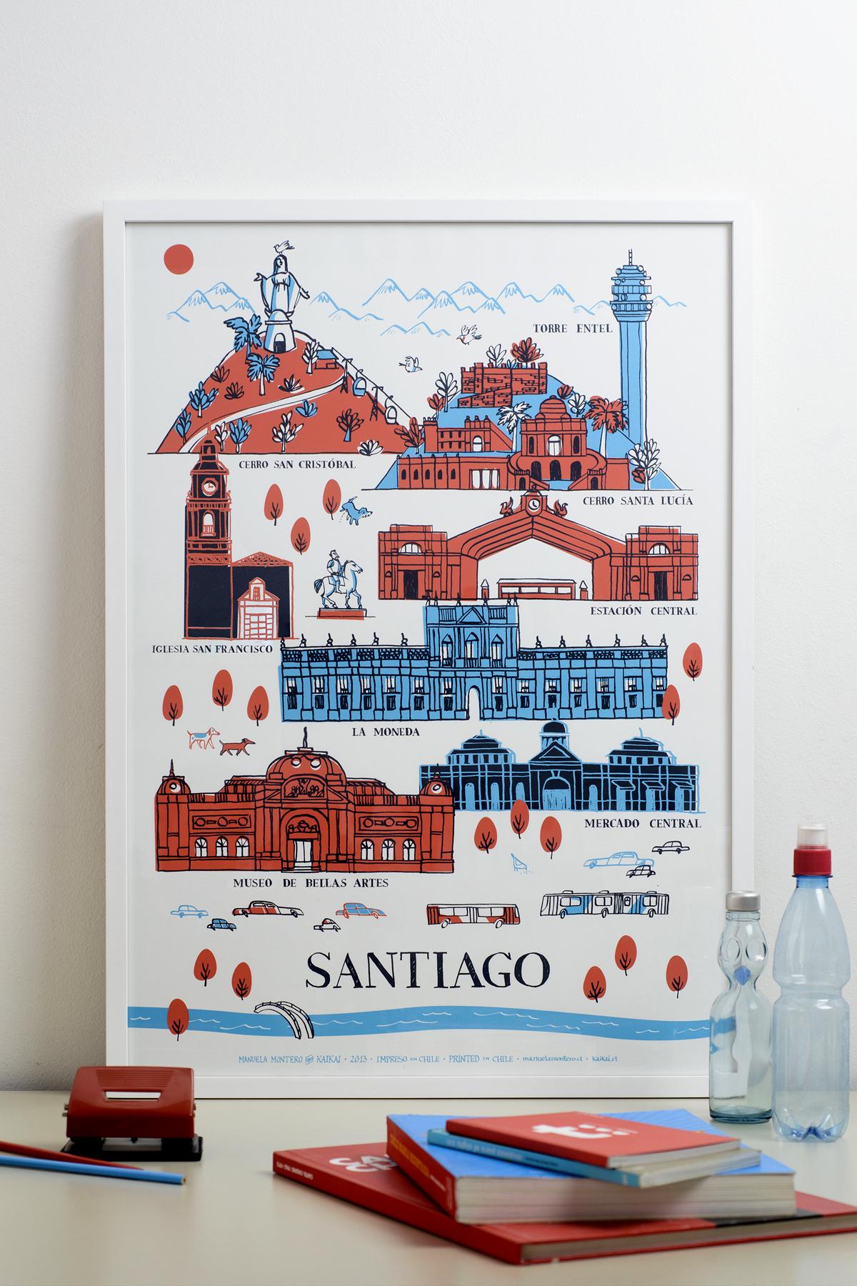 Afiche Santiago Patrimonial - serigrafía a tres tintas para Kaikai