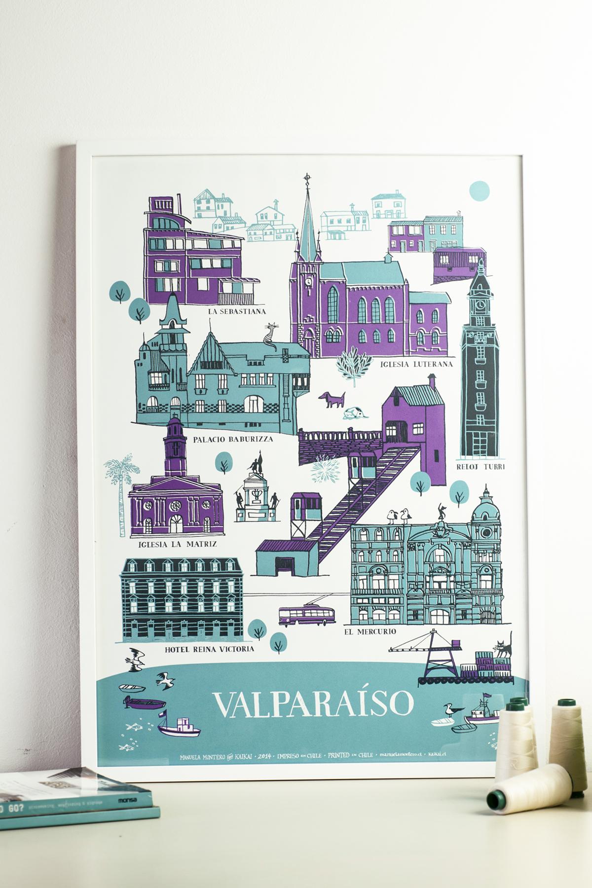 Afiche Valparaíso Patrimonial - serigrafía a tres tintas para Kaikai