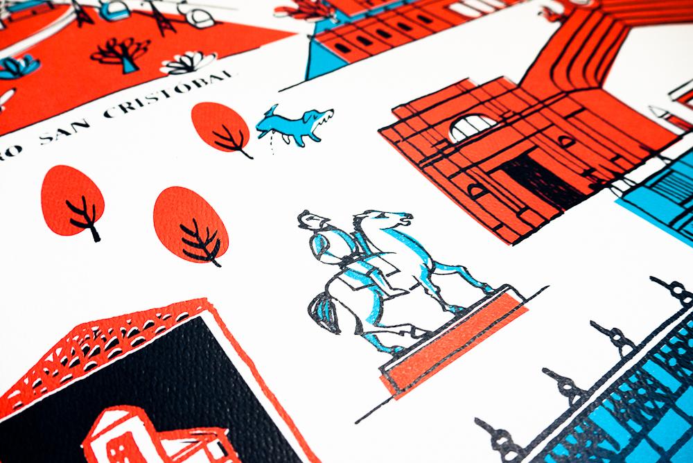 Detalle Afiche Santiago Patrimonial - serigrafía a tres tintas para Kaika