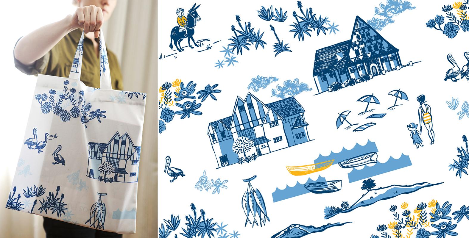 """Diseño de pattern textil """"Balneario"""", para ONBU"""